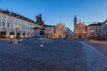 Piazza San Carlo di notte, Torino, Italia
