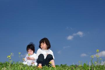 青空の草原で遊ぶ二人 A