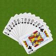 Playing Cards Clubs Set Spiral Arrangement