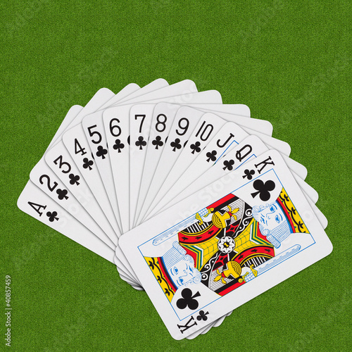 Playing Cards Clubs Set Spiral Arrangement