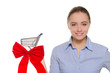 woman with red bow on the shopping cart