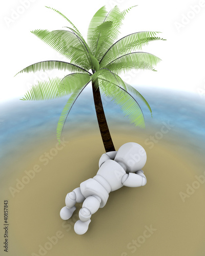 man on island under a palm tree