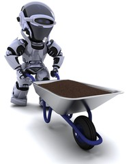robot gardener with a wheel barrow carrying soil