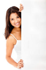 Woman behind a banner ad