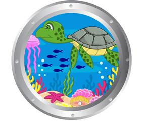 Turtle cartoon with porthole frame