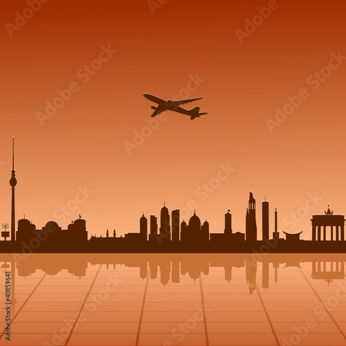 Airplane flying over Berlin