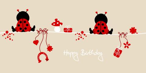 """2 Ladybugs & Symbols """"Happy Birthday"""" Beige"""