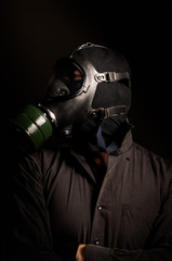 Man in gasmask