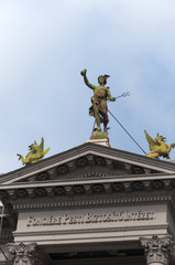 Hermes statue on Andrassy St Building in Budapest Hungary