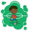 Cartoon African-American Soccer Player