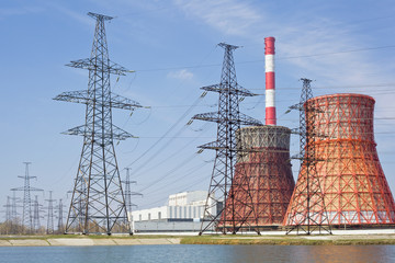 Thermal power station and power line
