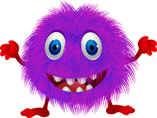 Hairy purple monster cartoon