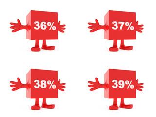 36, 37, 38, 39 Percent discount happy figure