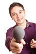 Reporter mit Mikrofon