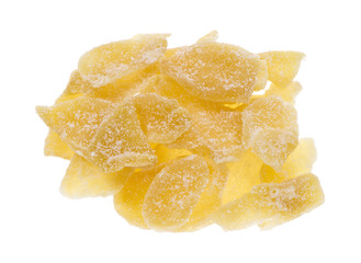 Crystallized ginger slices on white background
