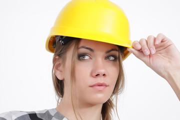 Bauarbeiterin, Portrait
