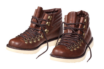 A pair of hiking boots isolated with clipping path.