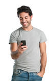 Happy guy at smart phone