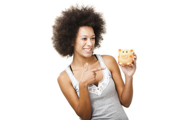 Woman with a piggy bank
