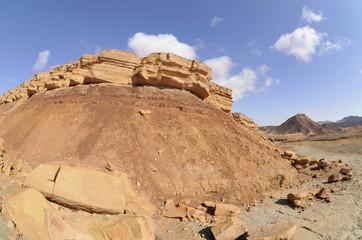 Volcanic formation in Negev desert.