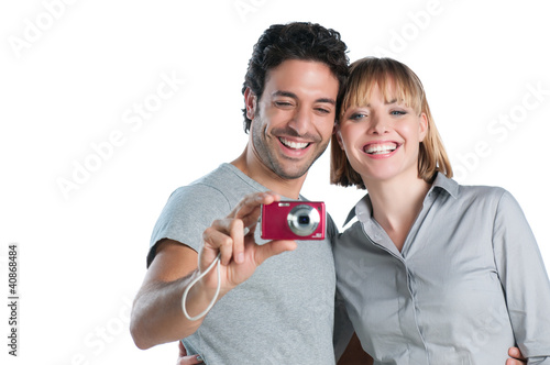 Couple making photos