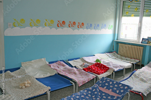 dormitory for children with small beds for a kindergarten