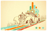 Vintage Car on Retro Background
