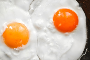 Two eggs in a frying pan