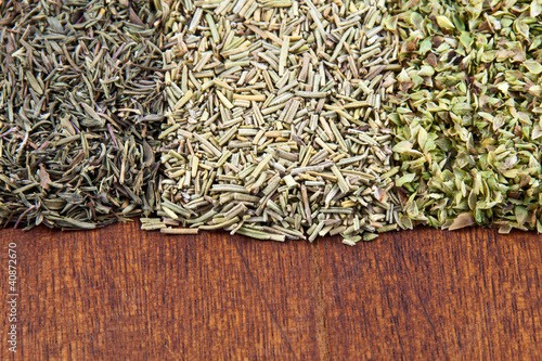 A mix of aromatic dried herbs