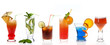 Different cocktails on white background
