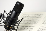 Studio microphone with music sheet
