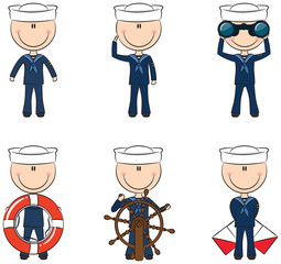 Set of cute sailors