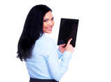 Business woman with tablet computer.