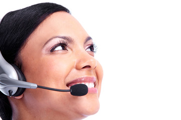 Call center operator business woman.