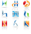 Vector illustration of glossy icons based on the letter H