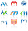 Vector illustration of glossy icons based on the letter M