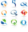 Vector illustration of glossy icons based on the letter Q