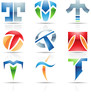 Vector illustration of glossy icons based on the letter T