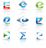Vector illustration of abstract icons based on the letter E