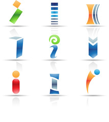 Vector illustration of glossy icons based on the letter i
