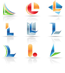 Vector illustration of glossy icons based on the letter L