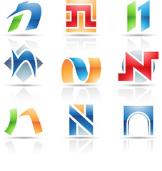 Vector illustration of glossy icons based on the letter N