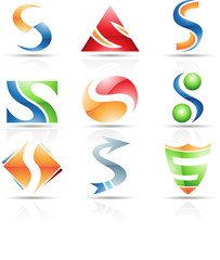 Vector illustration of glossy icons based on the letter S