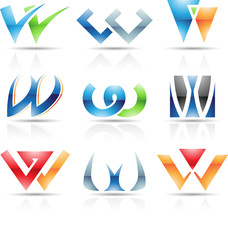 Vector illustration of glossy icons based on the letter W