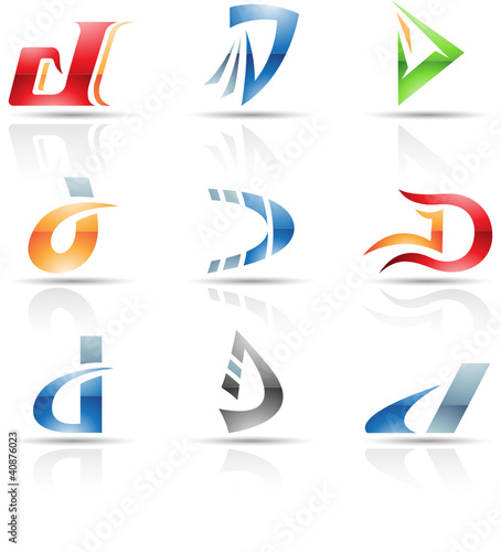 Vector illustration of glossy icons based on the letter D