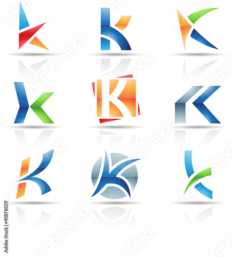 Vector illustration of glossy icons based on the letter K