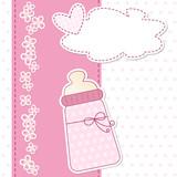 Fototapety baby shower - nascita bimba - fiocco rosa