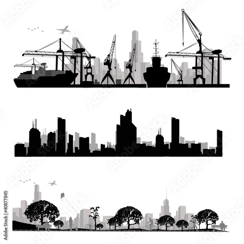 City skyline shiluettes.Vector illustration