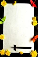 Japanese origami crane,mum and chop sticks