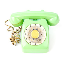 vintage green telephone isolated